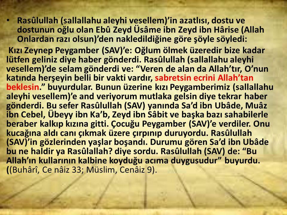 Rasûlullah (sallallahu aleyhi vesellem)'in azatlısı, dostu ve dostunun oğlu olan Ebû Zeyd Üsâme ibn Zeyd ibn Hârise (Allah Onlardan razı olsun)'den na