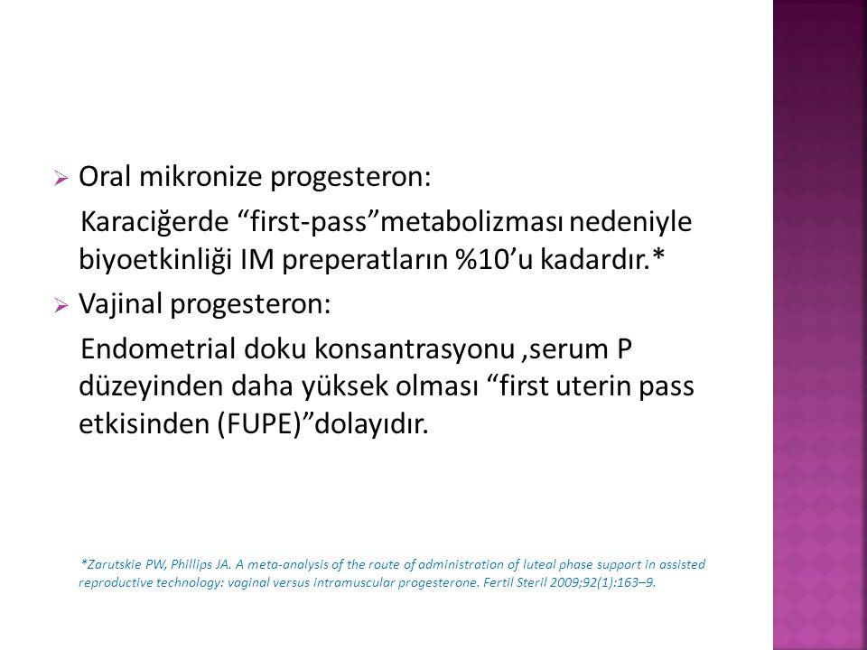 """ Oral mikronize progesteron: Karaciğerde """"first-pass""""metabolizması nedeniyle biyoetkinliği IM preperatların %10'u kadardır.*  Vajinal progesteron: E"""