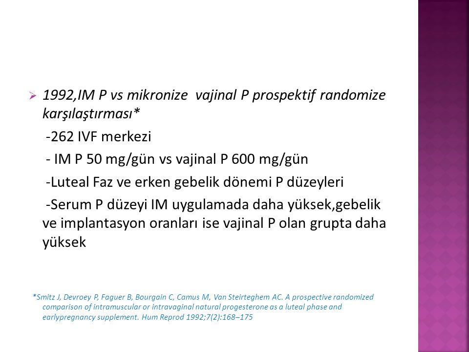  1992,IM P vs mikronize vajinal P prospektif randomize karşılaştırması* -262 IVF merkezi - IM P 50 mg/gün vs vajinal P 600 mg/gün -Luteal Faz ve erke