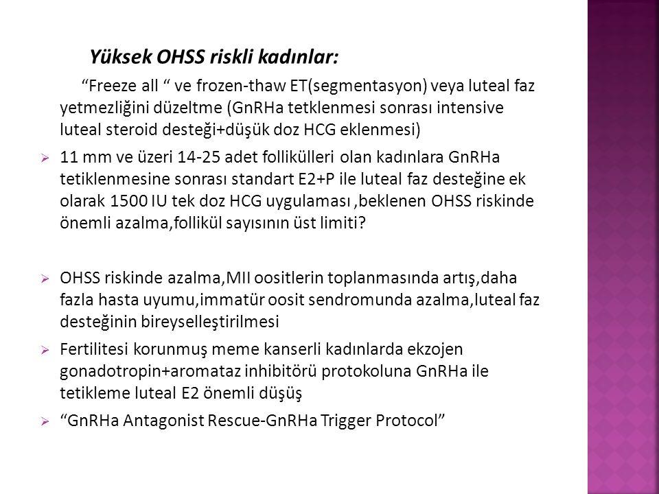 """Yüksek OHSS riskli kadınlar: """"Freeze all """" ve frozen-thaw ET(segmentasyon) veya luteal faz yetmezliğini düzeltme (GnRHa tetklenmesi sonrası intensive"""