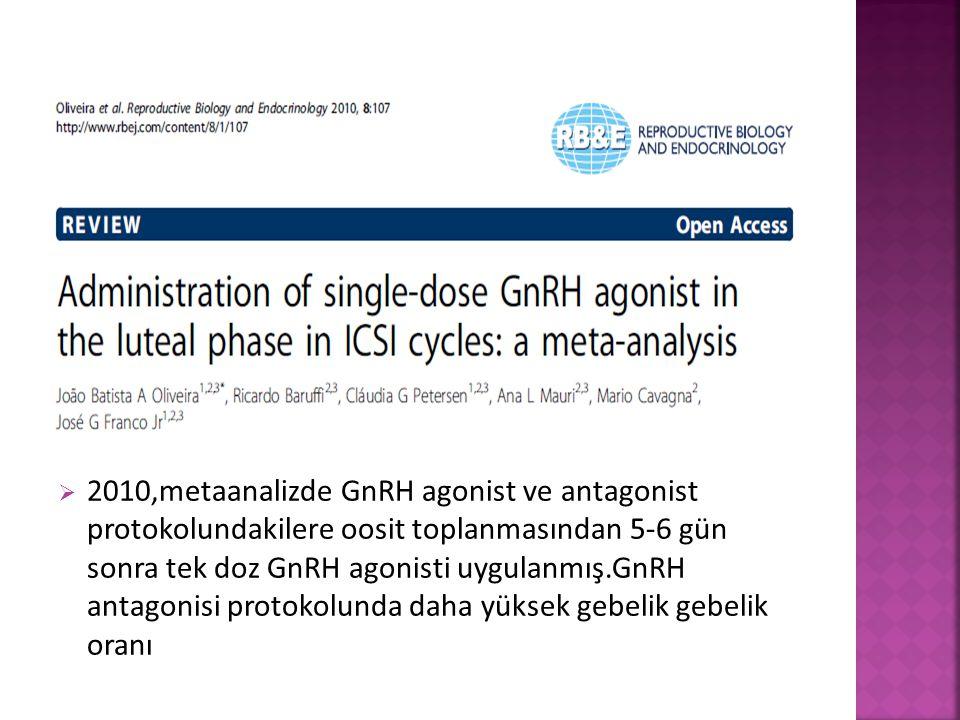  2010,metaanalizde GnRH agonist ve antagonist protokolundakilere oosit toplanmasından 5-6 gün sonra tek doz GnRH agonisti uygulanmış.GnRH antagonisi