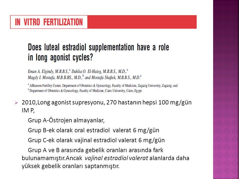  2010,Long agonist supresyonu, 270 hastanın hepsi 100 mg/gün IM P, Grup A-Östrojen almayanlar, Grup B-ek olarak oral estradiol valerat 6 mg/gün Grup