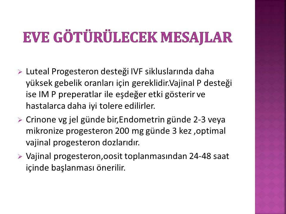  Luteal Progesteron desteği IVF sikluslarında daha yüksek gebelik oranları için gereklidir.Vajinal P desteği ise IM P preperatlar ile eşdeğer etki gö