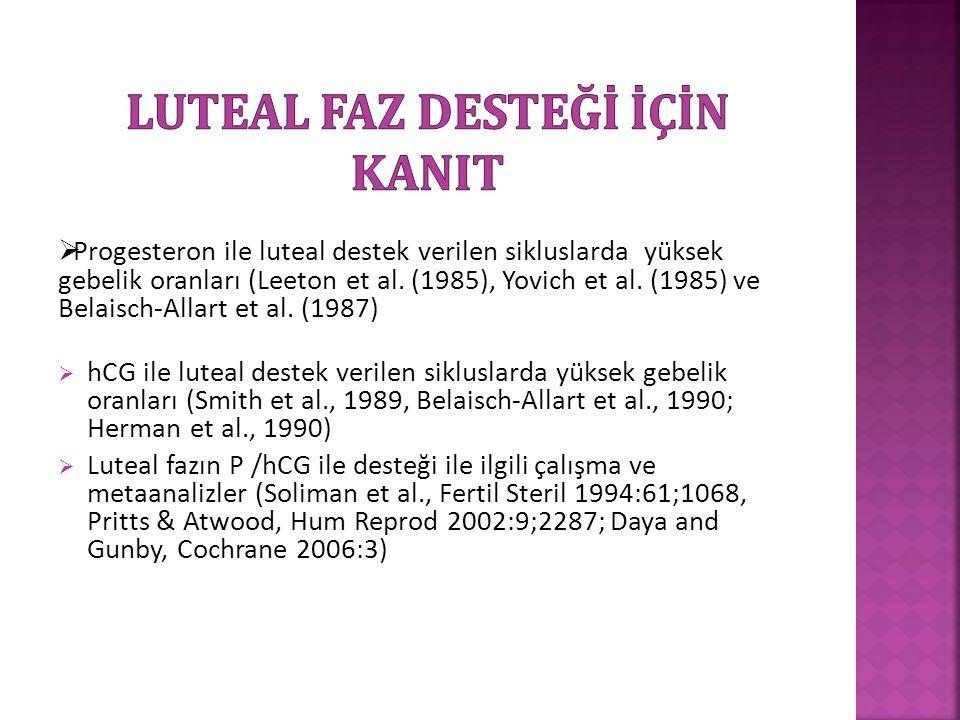  Progesteron ile luteal destek verilen sikluslarda yüksek gebelik oranları (Leeton et al. (1985), Yovich et al. (1985) ve Belaisch-Allart et al. (198