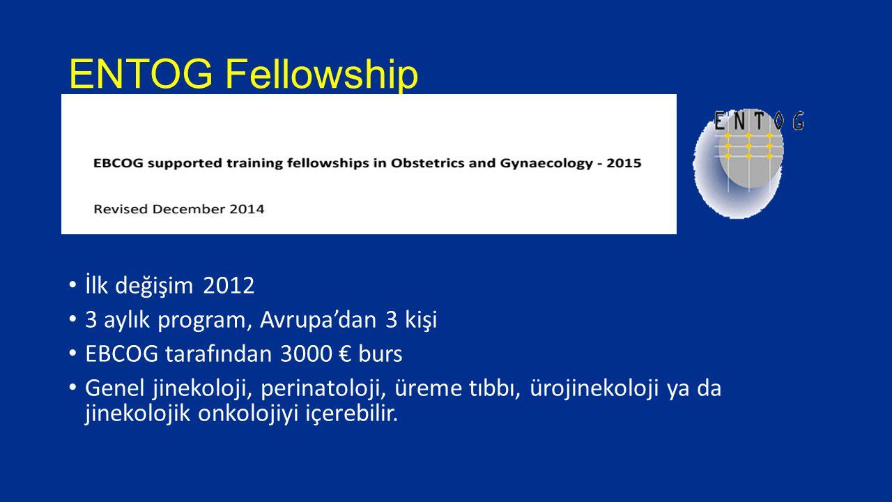 ENTOG Fellowship İlk değişim 2012 3 aylık program, Avrupa'dan 3 kişi EBCOG tarafından 3000 € burs Genel jinekoloji, perinatoloji, üreme tıbbı, ürojine