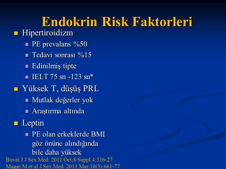 Endokrin Risk Faktorleri Hipertiroidizm Hipertiroidizm PE prevalans %50 PE prevalans %50 Tedavi sonrası %15 Tedavi sonrası %15 Edinilmiş tipte Edinilmiş tipte IELT 75 sn -123 sn* IELT 75 sn -123 sn* Yüksek T, düşüş PRL Yüksek T, düşüş PRL Mutlak değerler yok Mutlak değerler yok Araştırma altında Araştırma altında Leptin Leptin PE olan erkeklerde BMI göz önüne alındığında bile daha yüksek PE olan erkeklerde BMI göz önüne alındığında bile daha yüksek Buvat J J Sex Med.