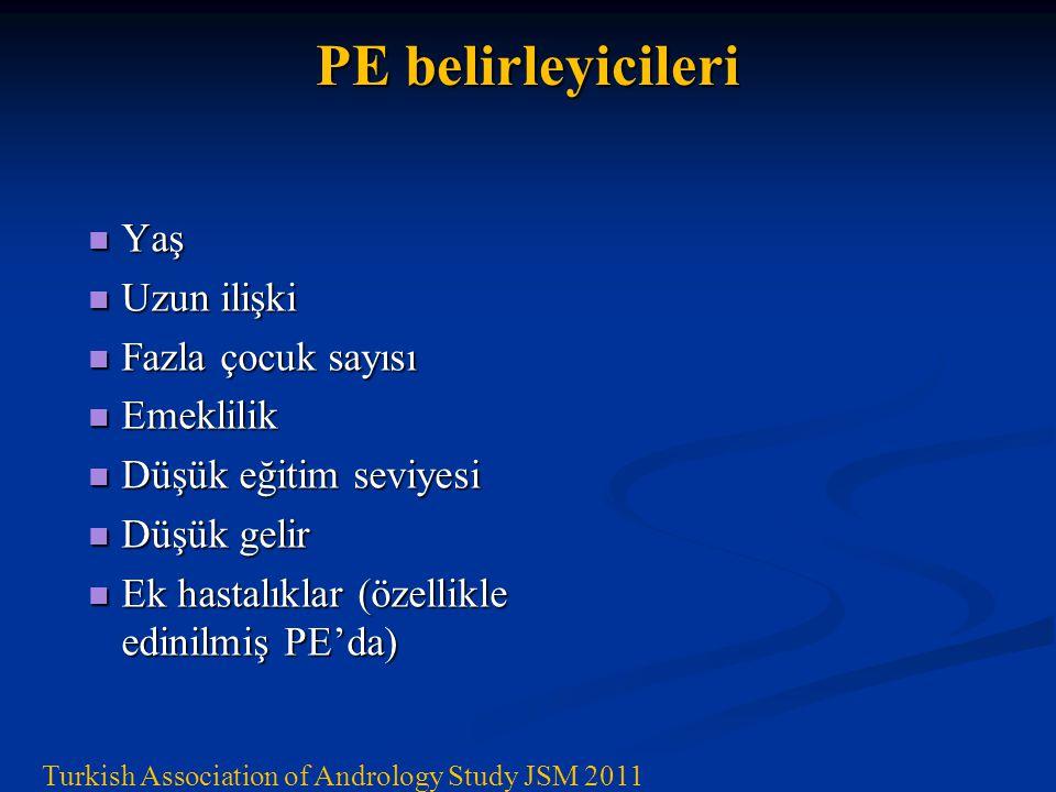 PE belirleyicileri Turkish Association of Andrology Study JSM 2011 Yaş Uzun ilişki Fazla çocuk sayısı Emeklilik Düşük eğitim seviyesi Düşük gelir Ek hastalıklar (özellikle edinilmiş PE'da)