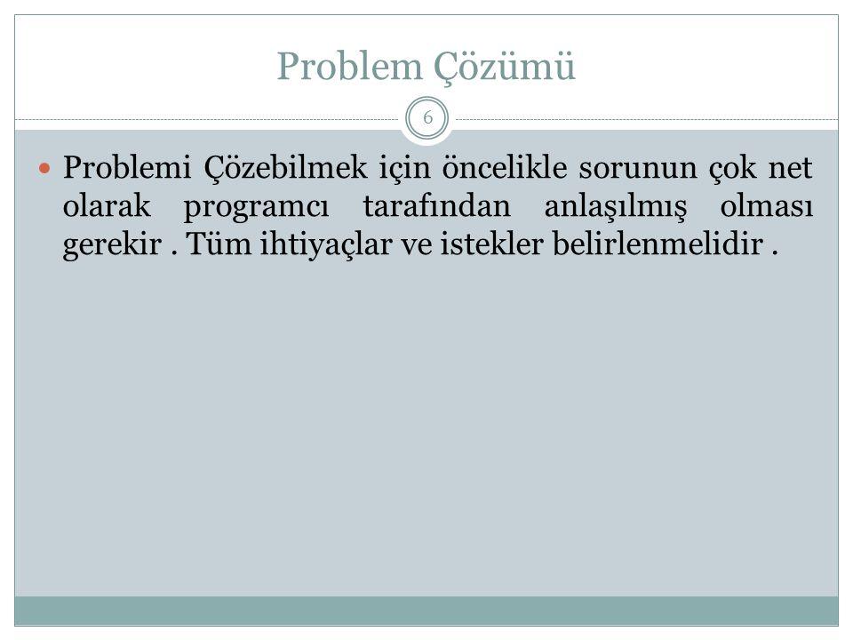 Problem Çözümü Problemi Çözebilmek için öncelikle sorunun çok net olarak programcı tarafından anlaşılmış olması gerekir.