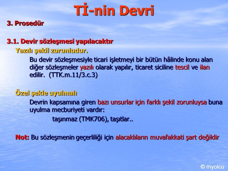 Tİ-nin Devri 3.Prosedür 3.1. Devir sözleşmesi yapılacaktır Yazılı şekil zurunludur.