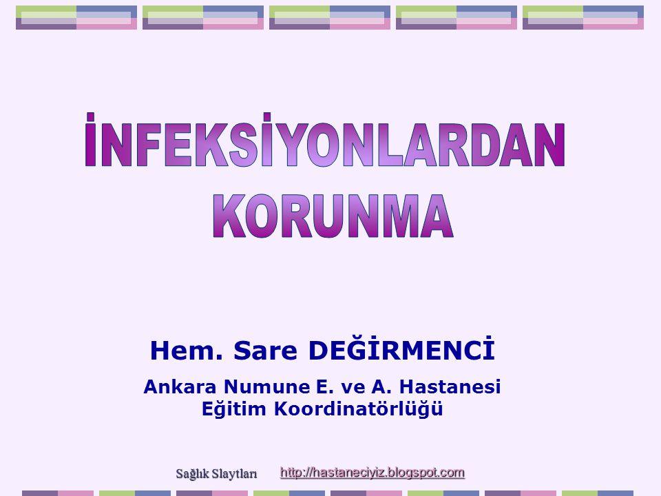 Hem. Sare DEĞİRMENCİ Ankara Numune E. ve A. Hastanesi Eğitim Koordinatörlüğü Sağlık Slaytları Sağlık Slaytları http://hastaneciyiz.blogspot.com