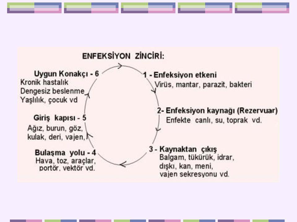 Enfeksiyon etkeni: Bakteri, virüs, mantar, parazit şeklinde isimlendirilen, patojen mikroorganizma(lar)dır.