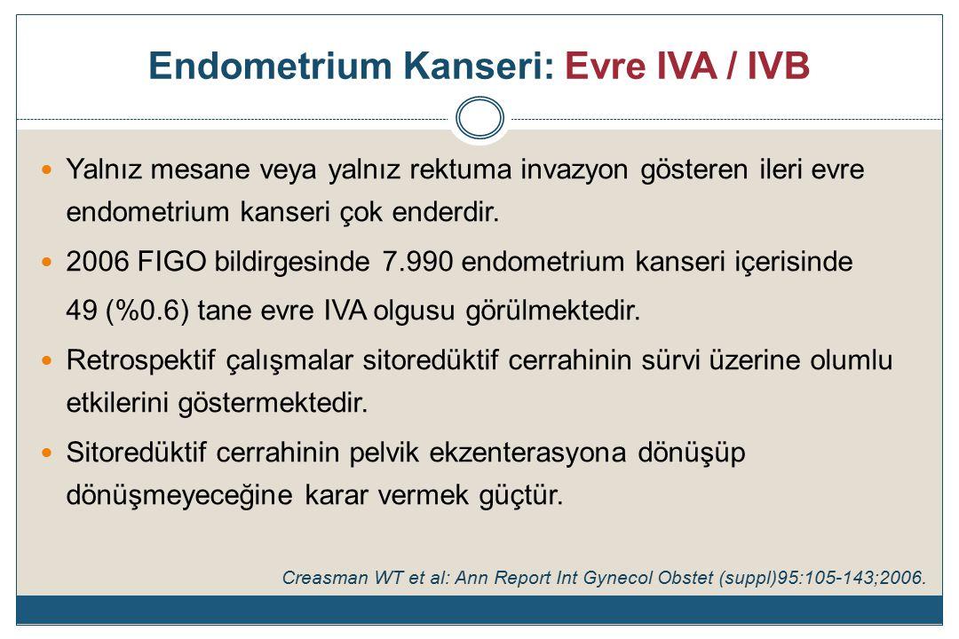 Endometrium Kanseri: Evre IVA / IVB Yalnız mesane veya yalnız rektuma invazyon gösteren ileri evre endometrium kanseri çok enderdir.