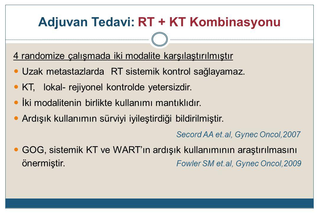 Adjuvan Tedavi: RT + KT Kombinasyonu 4 randomize çalışmada iki modalite karşılaştırılmıştır Uzak metastazlarda RT sistemik kontrol sağlayamaz.