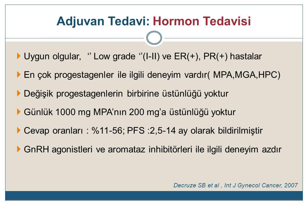 Adjuvan Tedavi: Hormon Tedavisi  Uygun olgular, '' Low grade ''(I-II) ve ER(+), PR(+) hastalar  En çok progestagenler ile ilgili deneyim vardır( MPA,MGA,HPC)  Değişik progestagenlerin birbirine üstünlüğü yoktur  Günlük 1000 mg MPA'nın 200 mg'a üstünlüğü yoktur  Cevap oranları : %11-56; PFS :2,5-14 ay olarak bildirilmiştir  GnRH agonistleri ve aromataz inhibitörleri ile ilgili deneyim azdır Decruze SB et al, Int J Gynecol Cancer, 2007