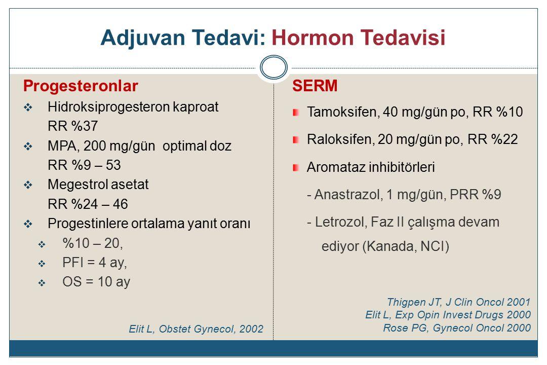 Adjuvan Tedavi: Hormon Tedavisi Progesteronlar  Hidroksiprogesteron kaproat RR %37  MPA, 200 mg/gün optimal doz RR %9 – 53  Megestrol asetat RR %24 – 46  Progestinlere ortalama yanıt oranı  %10 – 20,  PFI = 4 ay,  OS = 10 ay SERM Tamoksifen, 40 mg/gün po, RR %10 Raloksifen, 20 mg/gün po, RR %22 Aromataz inhibitörleri - Anastrazol, 1 mg/gün, PRR %9 - Letrozol, Faz II çalışma devam ediyor (Kanada, NCI) Thigpen JT, J Clin Oncol 2001 Elit L, Exp Opin Invest Drugs 2000 Rose PG, Gynecol Oncol 2000 Elit L, Obstet Gynecol, 2002
