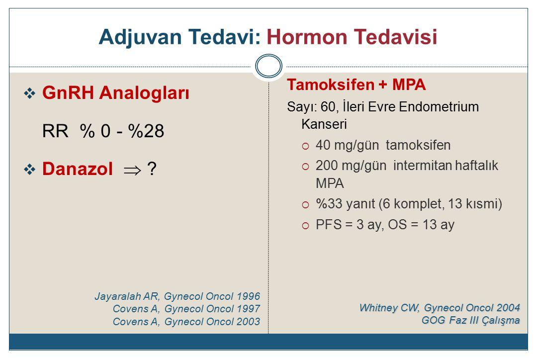 Adjuvan Tedavi: Hormon Tedavisi  GnRH Analogları RR % 0 - %28  Danazol  .