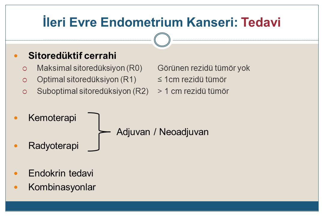 Endometrium Kanseri: Evre IIIA Tüm evre III'ler arasında en heterojen olanı  (+) Sitoloji % 87  Adneksiyal tutulum % 71-86  Serozal tutulum % 41.5 Sadece sitolojisi pozitif olan hastaların prognozları tartışmalı olmakla beraber çoğunlukla tek başına pozitif sitolojinin prognozu kötüleştirmediği bildirilmektedir.