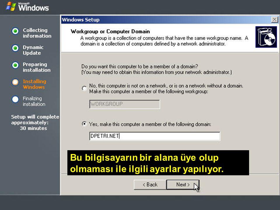 WİN – SET Abidin BAŞ – Cihad KAYALI Bu bilgisayarın bir alana üye olup olmaması ile ilgili ayarlar yapılıyor.