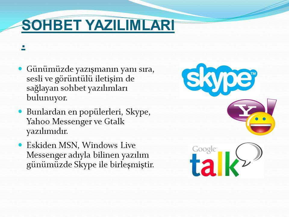 Günümüzde yazışmanın yanı sıra, sesli ve görüntülü iletişim de sağlayan sohbet yazılımları bulunuyor. Bunlardan en popülerleri, Skype, Yahoo Messenger