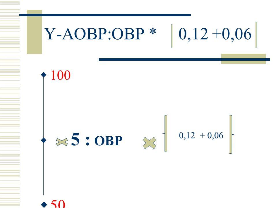 Y-AOBP:OBP * 0,12 +0,06  100  5 : OBP  50 0,12 + 0,06