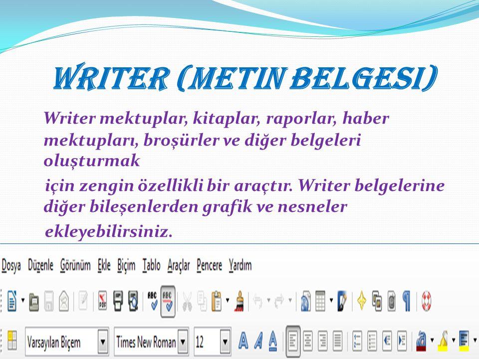 Writer (Metin Belgesi) Writer mektuplar, kitaplar, raporlar, haber mektupları, broşürler ve diğer belgeleri oluşturmak için zengin özellikli bir araçtır.