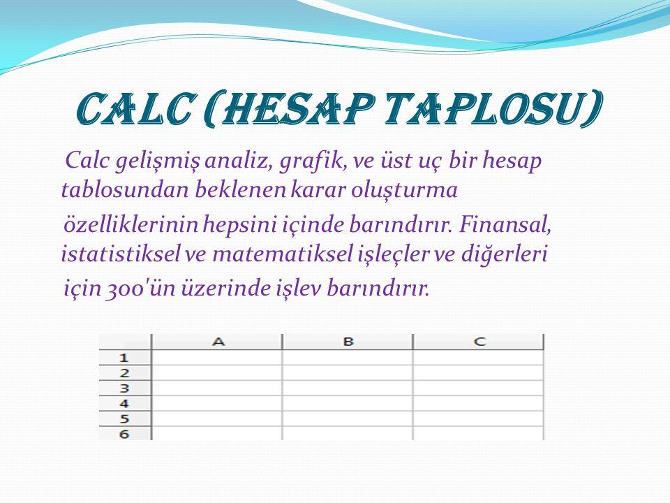 Calc (Hesap Taplosu) Calc gelişmiş analiz, grafik, ve üst uç bir hesap tablosundan beklenen karar oluşturma özelliklerinin hepsini içinde barındırır.
