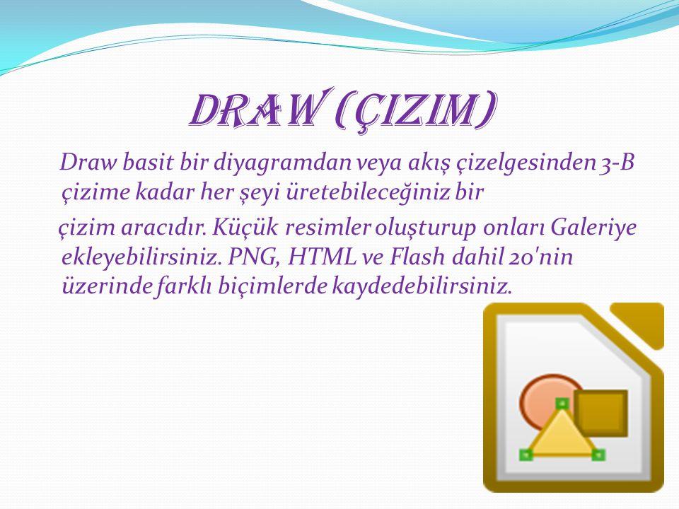 Draw (Çizim) Draw basit bir diyagramdan veya akış çizelgesinden 3-B çizime kadar her şeyi üretebileceğiniz bir çizim aracıdır. Küçük resimler oluşturu