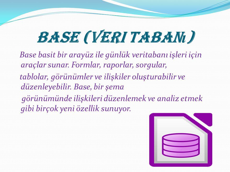 Base (Veri Taban ı ) Base basit bir arayüz ile günlük veritabanı işleri için araçlar sunar.