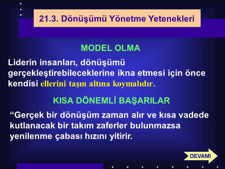 93 21.3. Dönüşümü Yönetme Yetenekleri MODEL OLMA Liderin insanları, dönüşümü gerçekleştirebileceklerine ikna etmesi için önce kendisi ellerini taşın a