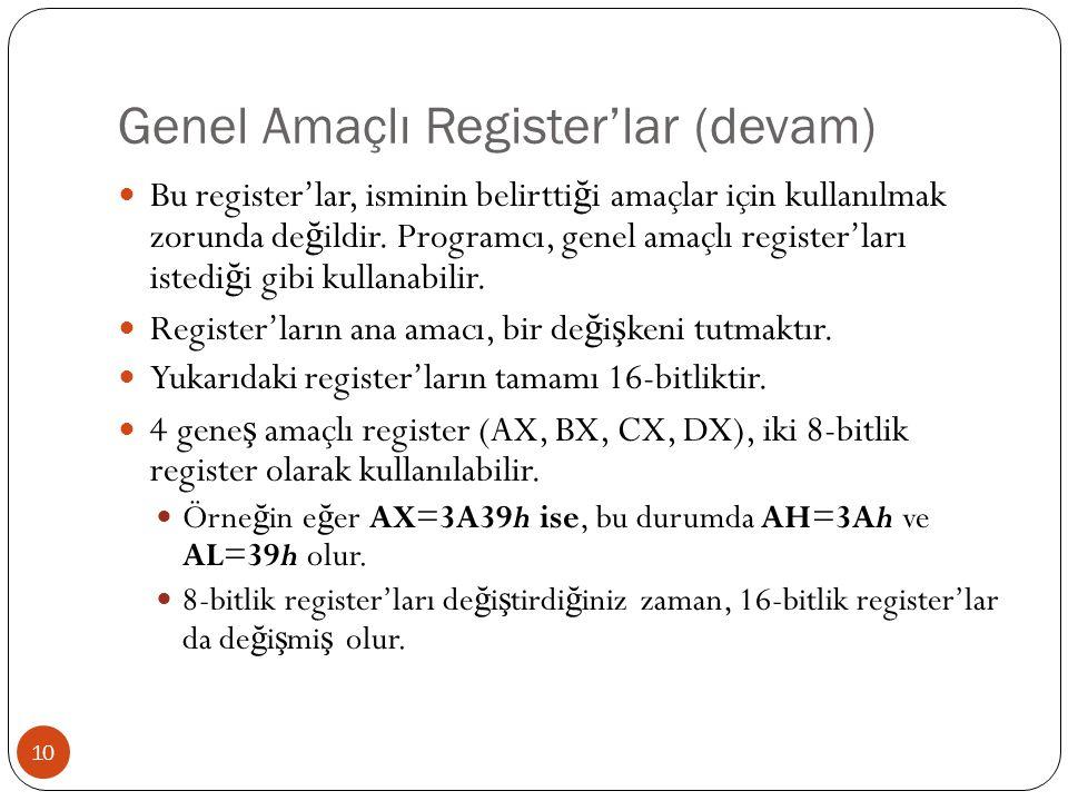 Genel Amaçlı Register'lar (devam) 10 Bu register'lar, isminin belirtti ğ i amaçlar için kullanılmak zorunda de ğ ildir. Programcı, genel amaçlı regist