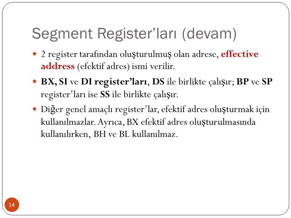 Segment Register'ları (devam) 14 2 register tarafından olu ş turulmu ş olan adrese, effective address (efektif adres) ismi verilir. BX, SI ve DI regis