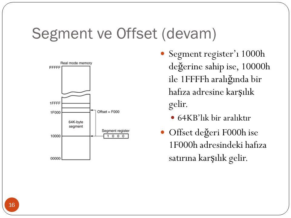 Segment ve Offset (devam) 16 Segment register'ı 1000h de ğ erine sahip ise, 10000h ile 1FFFFh aralı ğ ında bir hafıza adresine kar ş ılık gelir. 64KB'