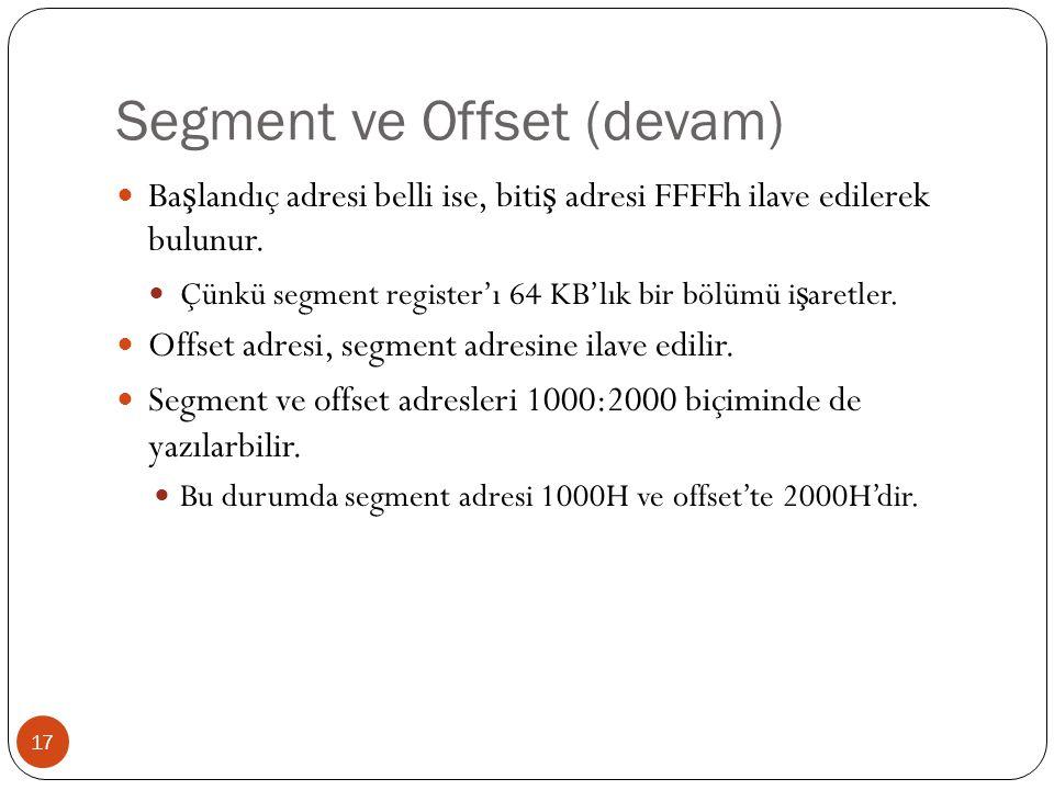 Segment ve Offset (devam) 17 Ba ş landıç adresi belli ise, biti ş adresi FFFFh ilave edilerek bulunur. Çünkü segment register'ı 64 KB'lık bir bölümü i