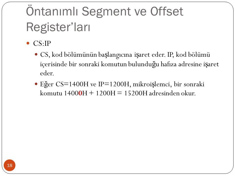 Öntanımlı Segment ve Offset Register'ları 18 CS:IP CS, kod bölümünün ba ş langıcına i ş aret eder. IP, kod bölümü içerisinde bir sonraki komutun bulun