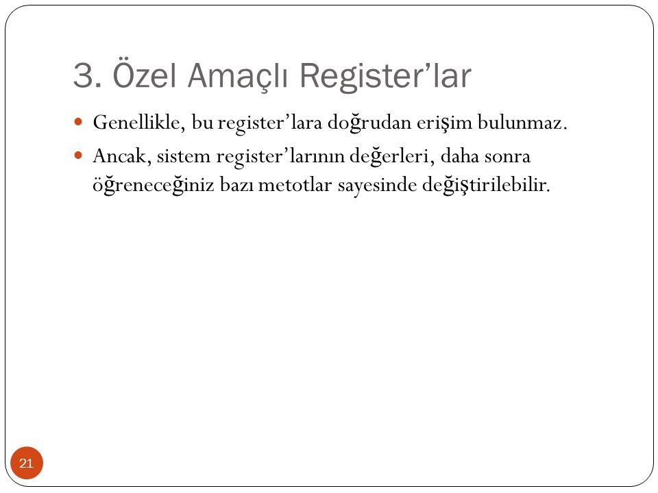 3. Özel Amaçlı Register'lar 21 Genellikle, bu register'lara do ğ rudan eri ş im bulunmaz. Ancak, sistem register'larının de ğ erleri, daha sonra ö ğ r