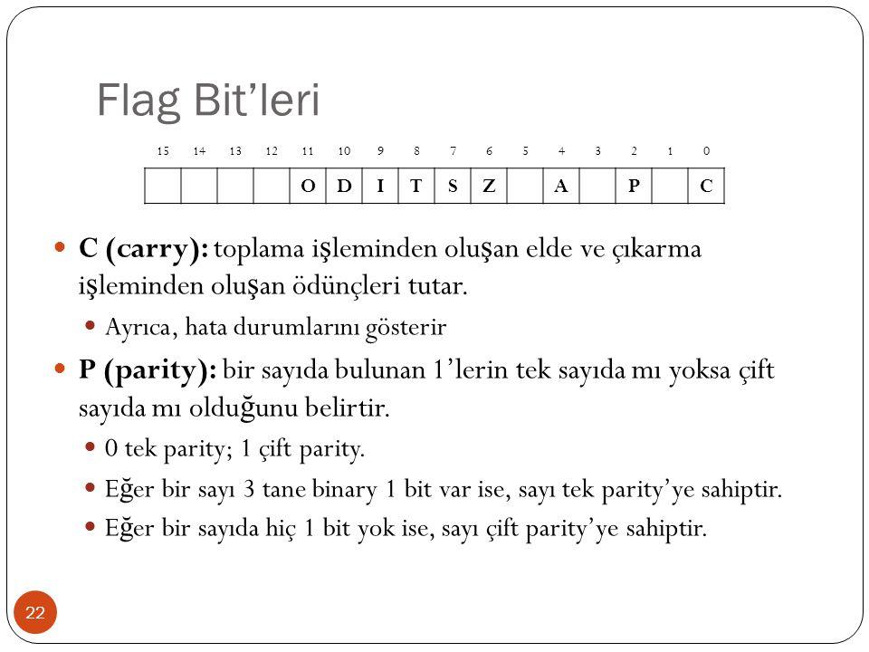 Flag Bit'leri 22 C (carry): toplama i ş leminden olu ş an elde ve çıkarma i ş leminden olu ş an ödünçleri tutar. Ayrıca, hata durumlarını gösterir P (