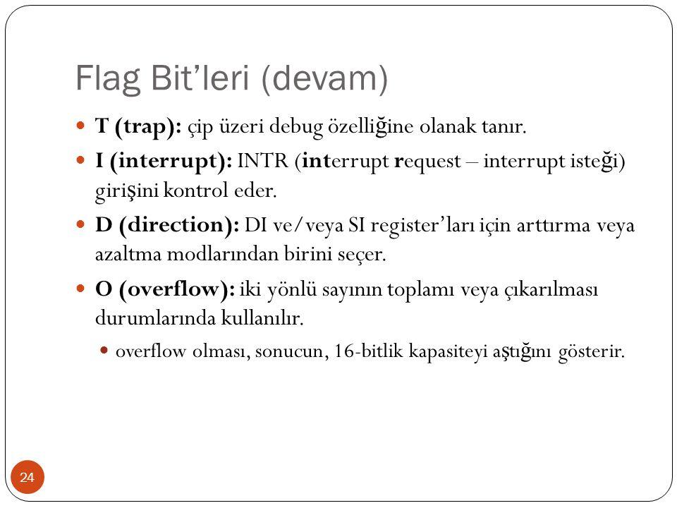 Flag Bit'leri (devam) 24 T (trap): çip üzeri debug özelli ğ ine olanak tanır. I (interrupt): INTR (interrupt request – interrupt iste ğ i) giri ş ini