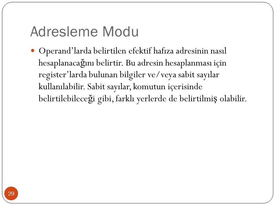 Adresleme Modu 29 Operand'larda belirtilen efektif hafıza adresinin nasıl hesaplanaca ğ ını belirtir. Bu adresin hesaplanması için register'larda bulu