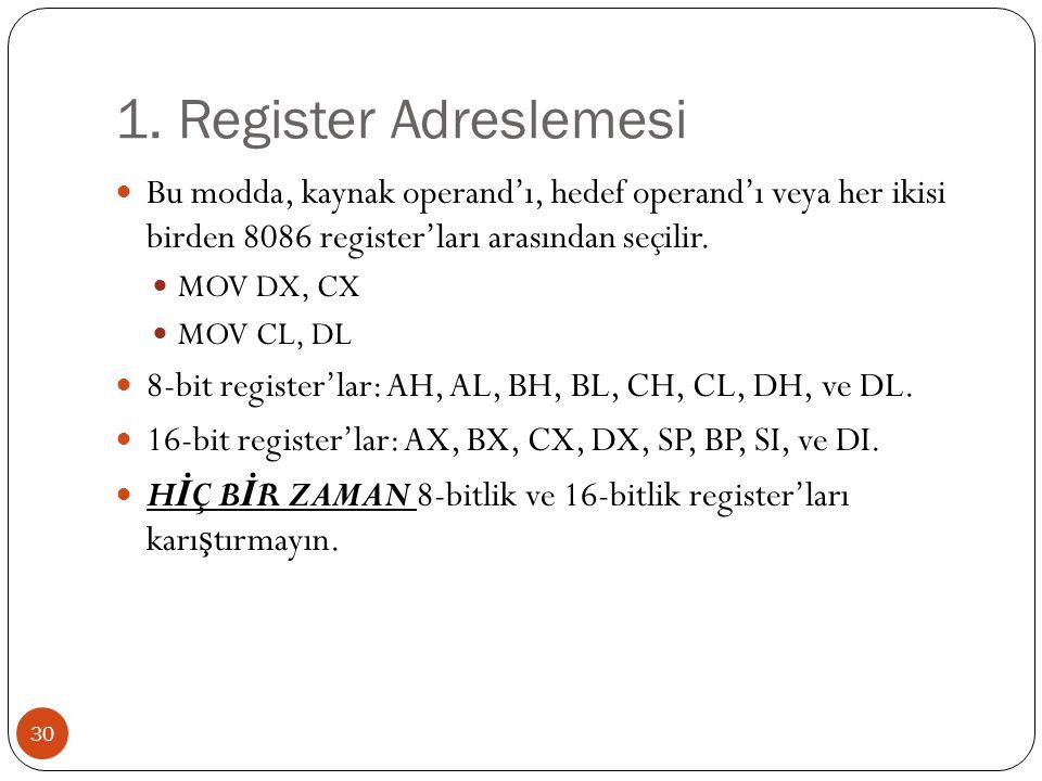 1. Register Adreslemesi 30 Bu modda, kaynak operand'ı, hedef operand'ı veya her ikisi birden 8086 register'ları arasından seçilir. MOV DX, CX MOV CL,
