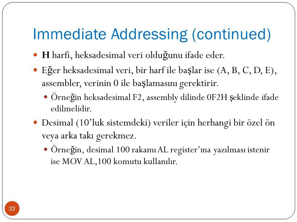 Immediate Addressing (continued) 32 H harfi, heksadesimal veri oldu ğ unu ifade eder. E ğ er heksadesimal veri, bir harf ile ba ş lar ise (A, B, C, D,