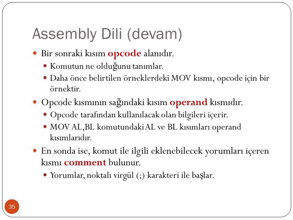 Assembly Dili (devam) 35 Bir sonraki kısım opcode alanıdır. Komutun ne oldu ğ unu tanımlar. Daha önce belirtilen örneklerdeki MOV kısmı, opcode için b