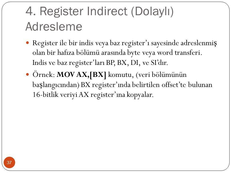 4. Register Indirect (Dolaylı) Adresleme 37 Register ile bir indis veya baz register'ı sayesinde adreslenmi ş olan bir hafıza bölümü arasında byte vey