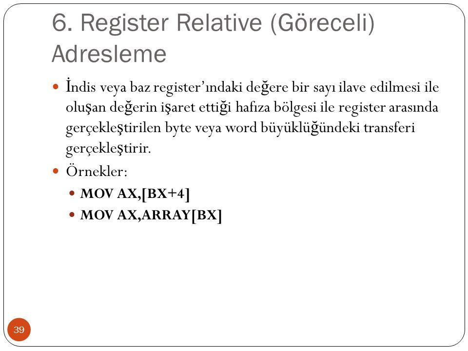 6. Register Relative (Göreceli) Adresleme 39 İ ndis veya baz register'ındaki de ğ ere bir sayı ilave edilmesi ile olu ş an de ğ erin i ş aret etti ğ i