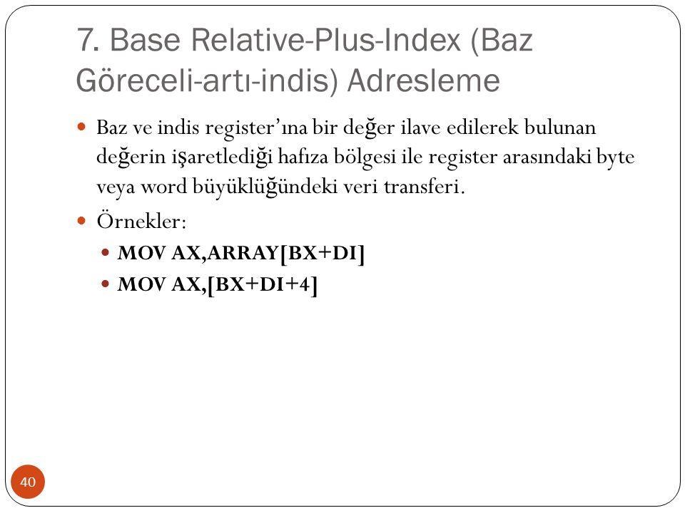 7. Base Relative-Plus-Index (Baz Göreceli-artı-indis) Adresleme 40 Baz ve indis register'ına bir de ğ er ilave edilerek bulunan de ğ erin i ş aretledi