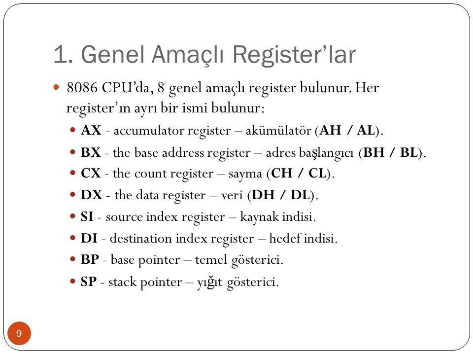 1. Genel Amaçlı Register'lar 9 8086 CPU'da, 8 genel amaçlı register bulunur. Her register'ın ayrı bir ismi bulunur: AX - accumulator register – akümül