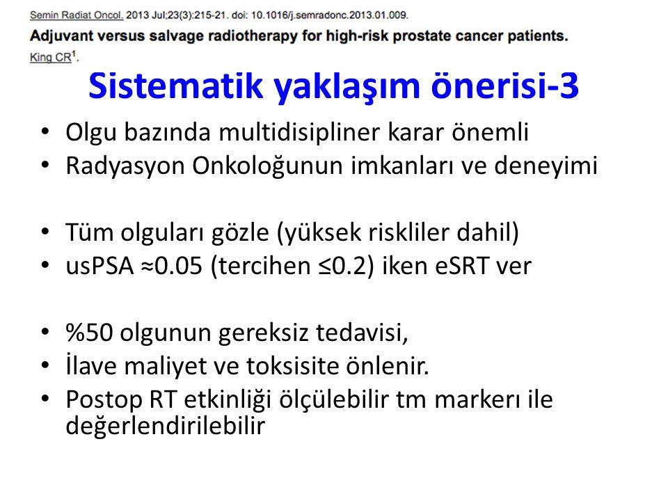 Sistematik yaklaşım önerisi-3 Olgu bazında multidisipliner karar önemli Radyasyon Onkoloğunun imkanları ve deneyimi Tüm olguları gözle (yüksek risklil