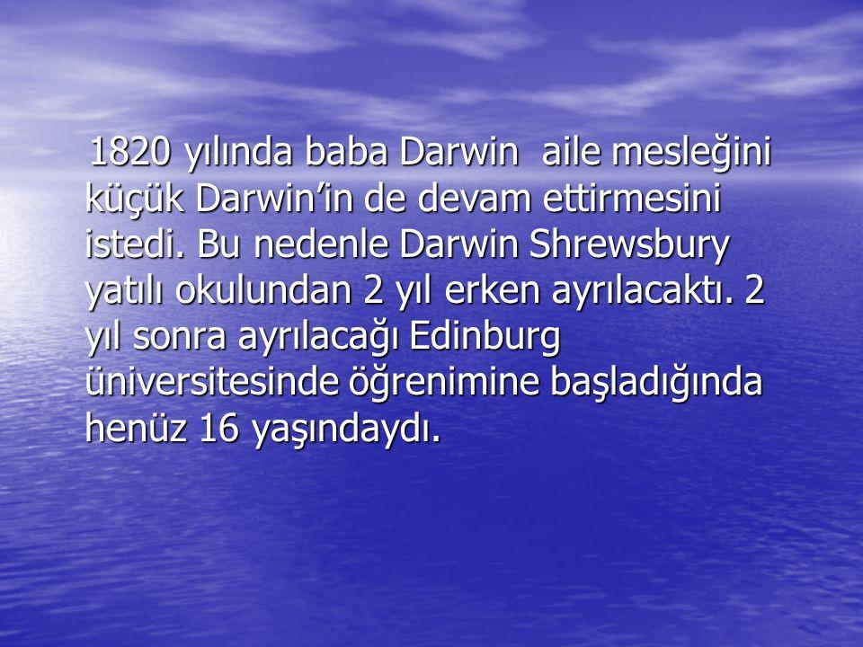 1820 yılında baba Darwin aile mesleğini küçük Darwin'in de devam ettirmesini istedi. Bu nedenle Darwin Shrewsbury yatılı okulundan 2 yıl erken ayrılac