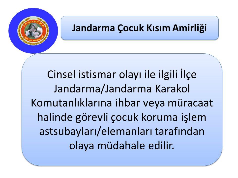 Jandarma Çocuk Kısım Amirliği Cinsel istismar olayı ile ilgili İlçe Jandarma/Jandarma Karakol Komutanlıklarına ihbar veya müracaat halinde görevli çoc