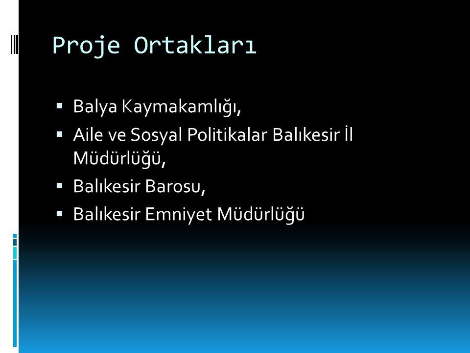 Proje Ortakları  Balya Kaymakamlığı,  Aile ve Sosyal Politikalar Balıkesir İl Müdürlüğü,  Balıkesir Barosu,  Balıkesir Emniyet Müdürlüğü