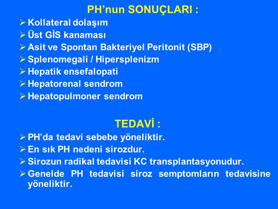 PH'nun SONUÇLARI :  Kollateral dolaşım  Üst GİS kanaması  Asit ve Spontan Bakteriyel Peritonit (SBP)  Splenomegali / Hipersplenizm  Hepatik ensef